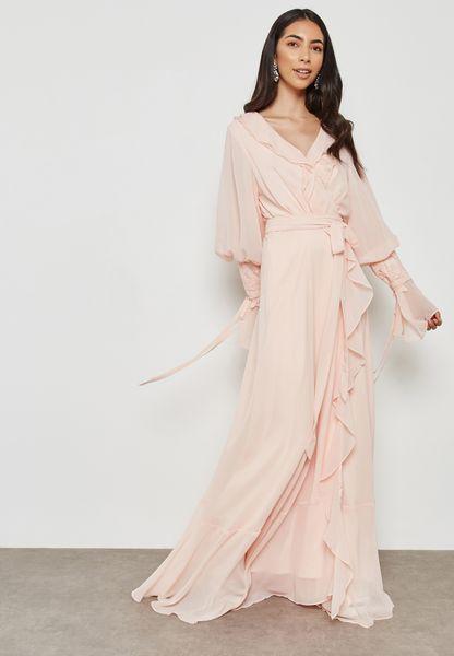 Lace Tie Cuffed Ruffle Trim Dress