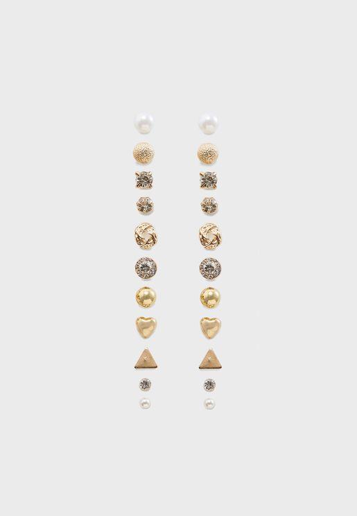 Multipack Stone Stud Earrings