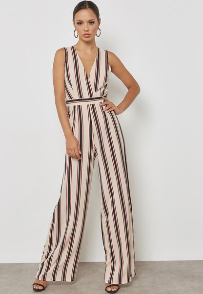Stripe Wrap Front Sleeveless Jumpsuit