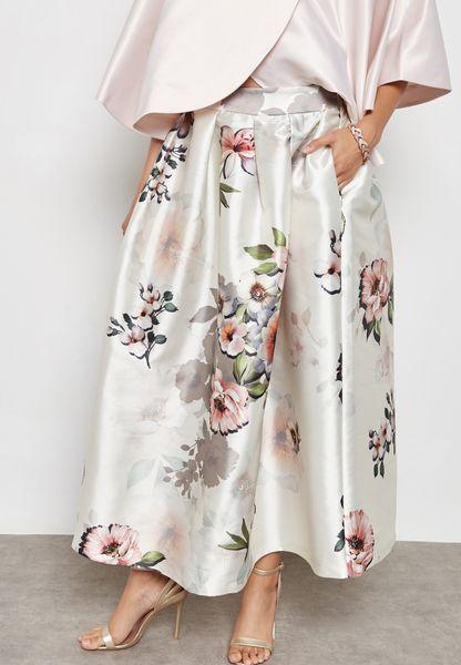 Floral Print Box Pleat Maxi Skirt