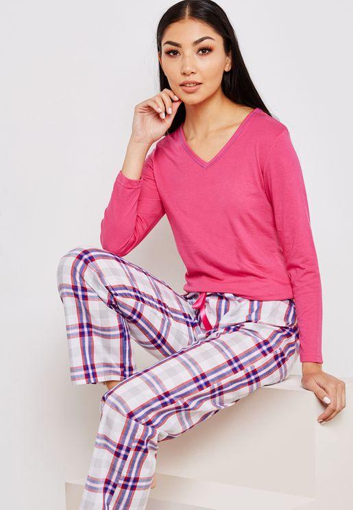 V-Neck Top Checked Pyjama Set