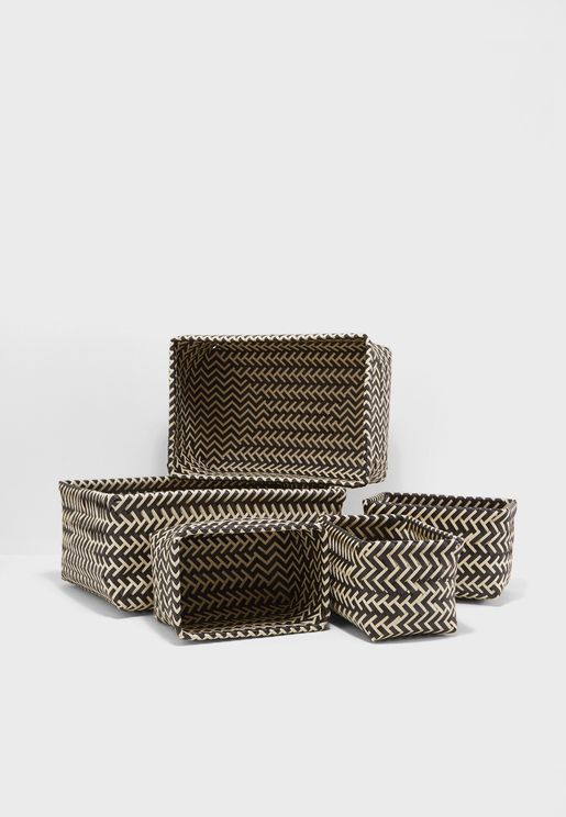 5 Pack Woven Storage Basket