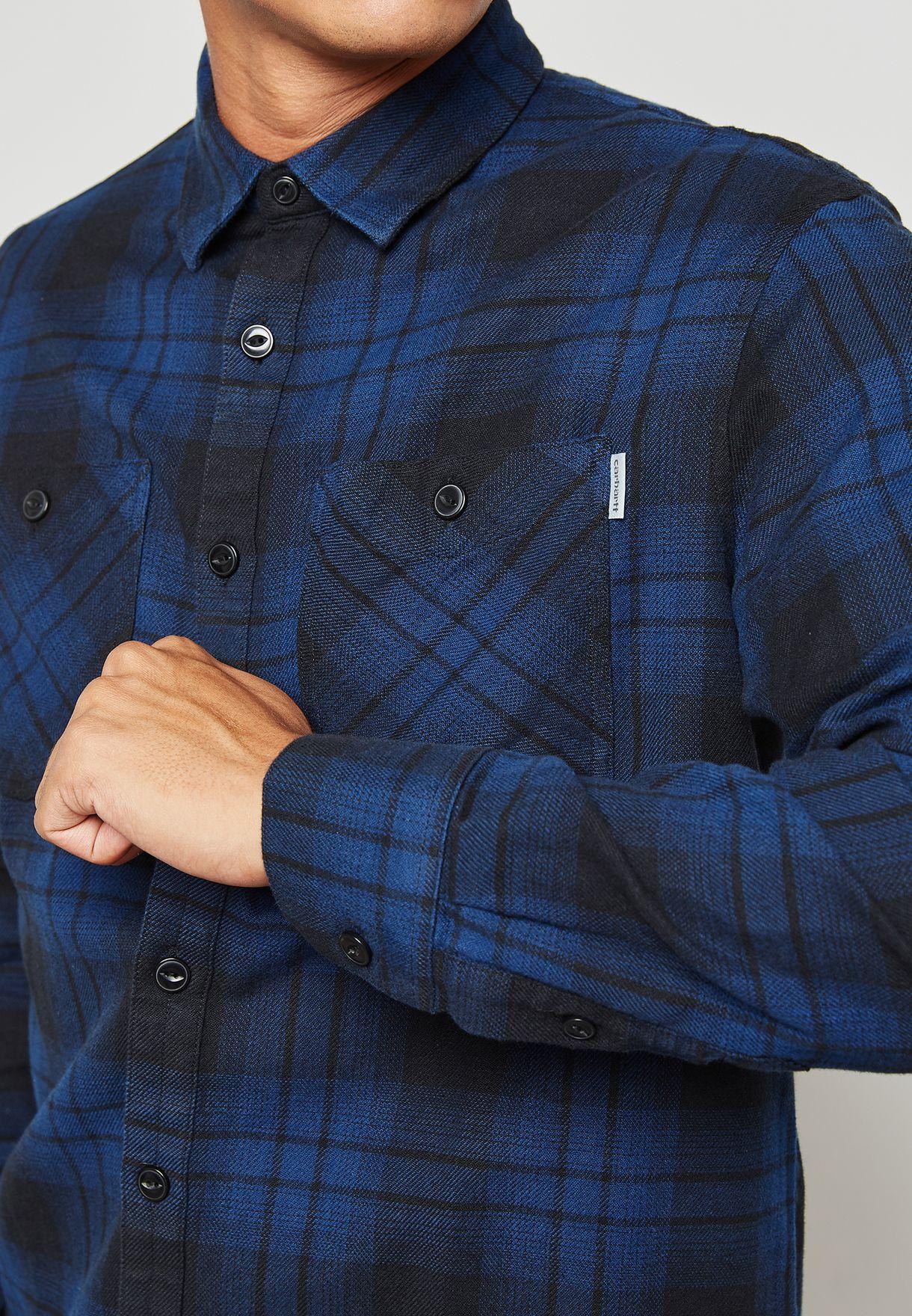 12e1127ccd Shop Carhartt WIP blue Harold Shirt I023318 for Men in UAE ...