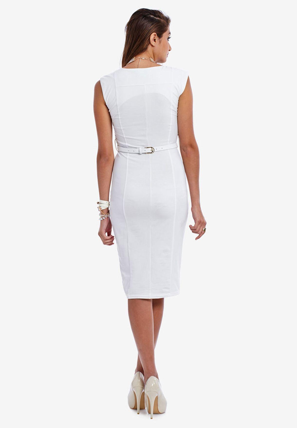 3a8633cd5c063 Shop Ax paris white Sleeveless Midi Dress for Women in Kuwait ...