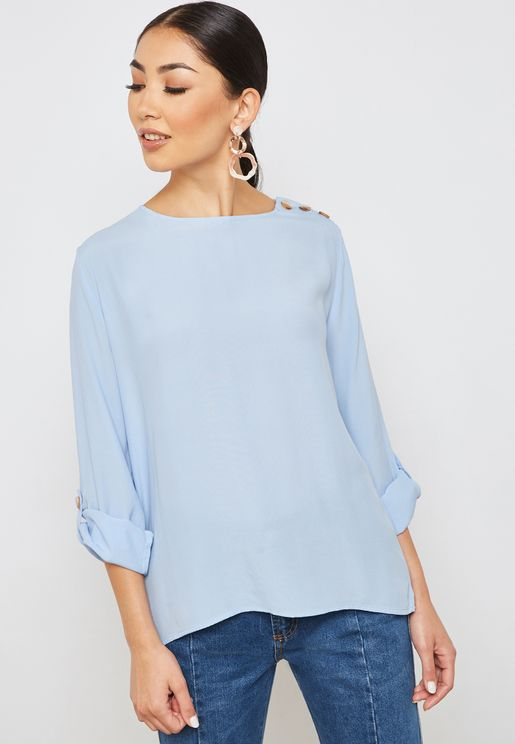 Button Detail Roll Sleeves Top