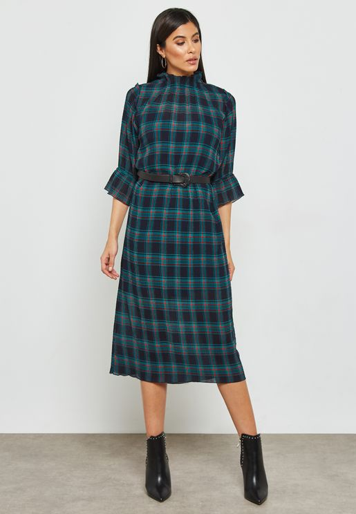 Tartan Shift Midi Dress