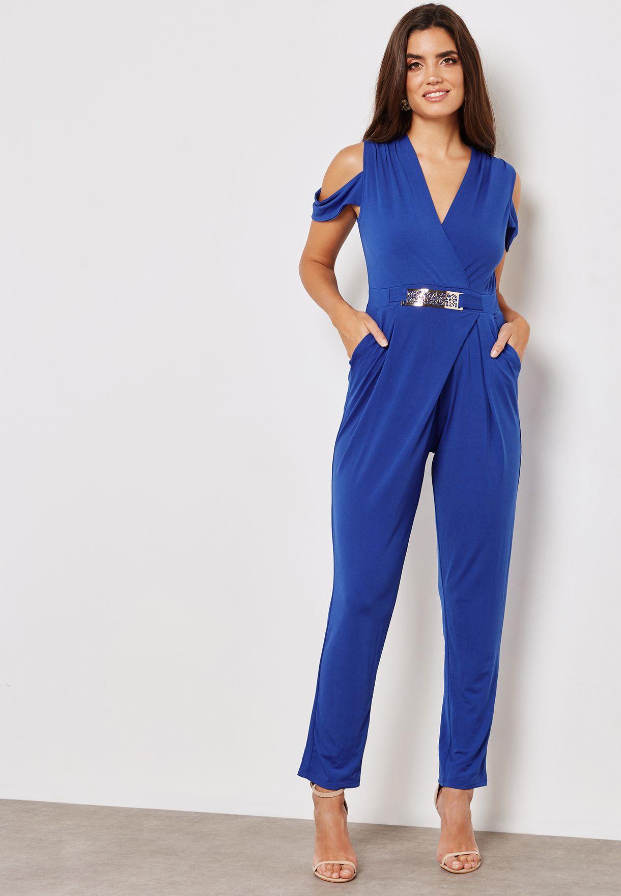 1f38b9cd674 Shop Mela London blue Belted Cold Shoulder Jumpsuit ML3427A for ...