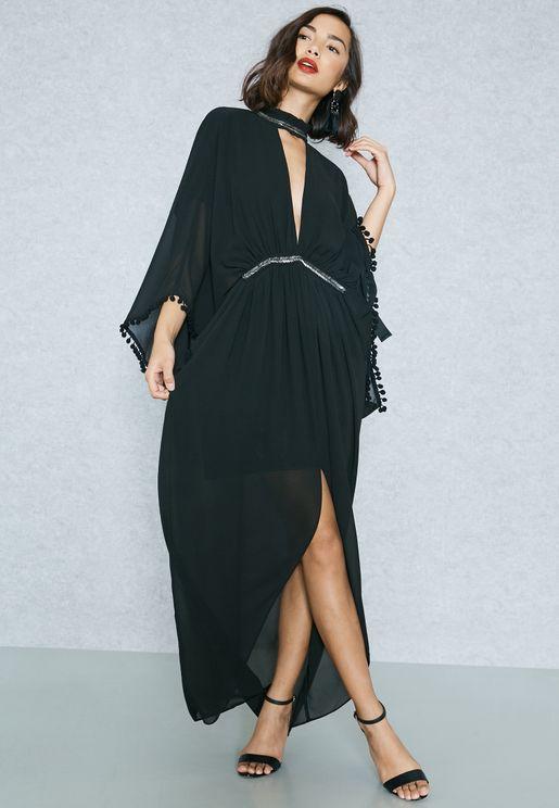 Bead Trim Maxi Dress