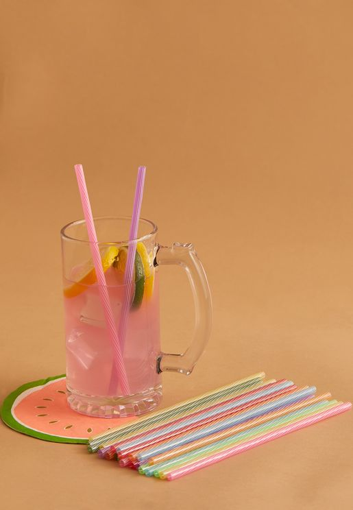 Rainbow Reusable Straws 8""