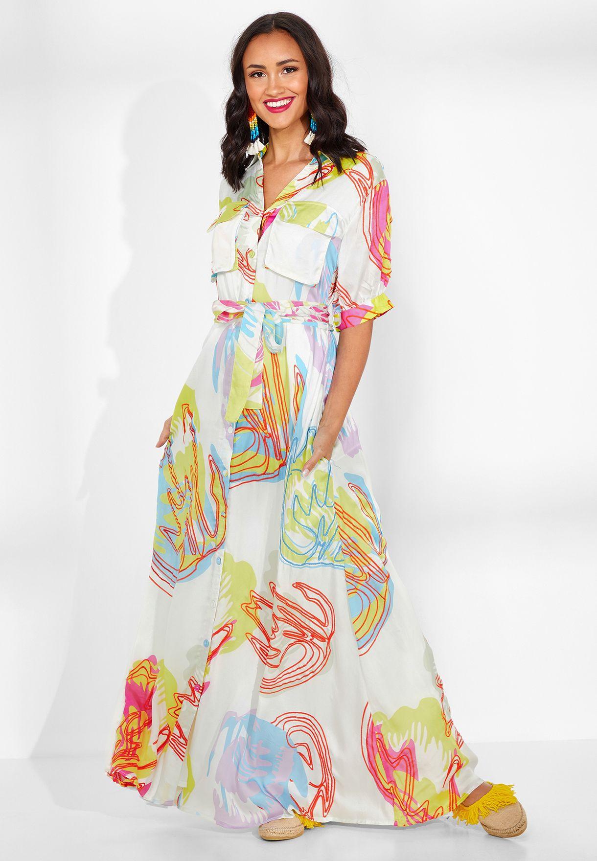 Prisha Embroidered Belted Silk Shirt Dress
