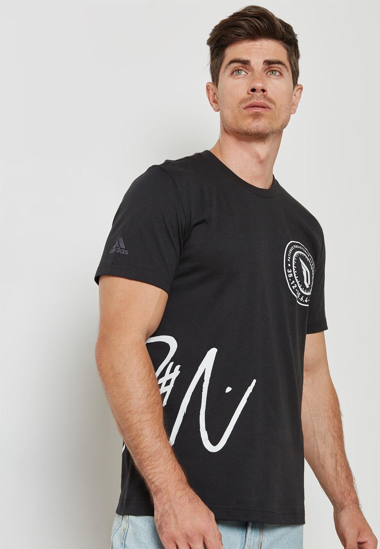 c7769224 Shop adidas black Dame Logo T-Shirt CF3591 for Men in UAE - AD476AT23EWE