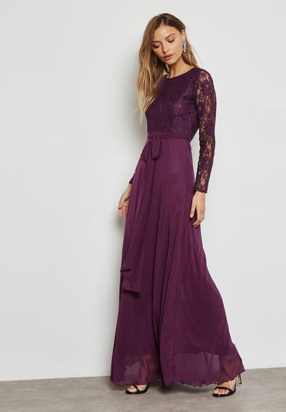Lace Top Open Tie Back Dress