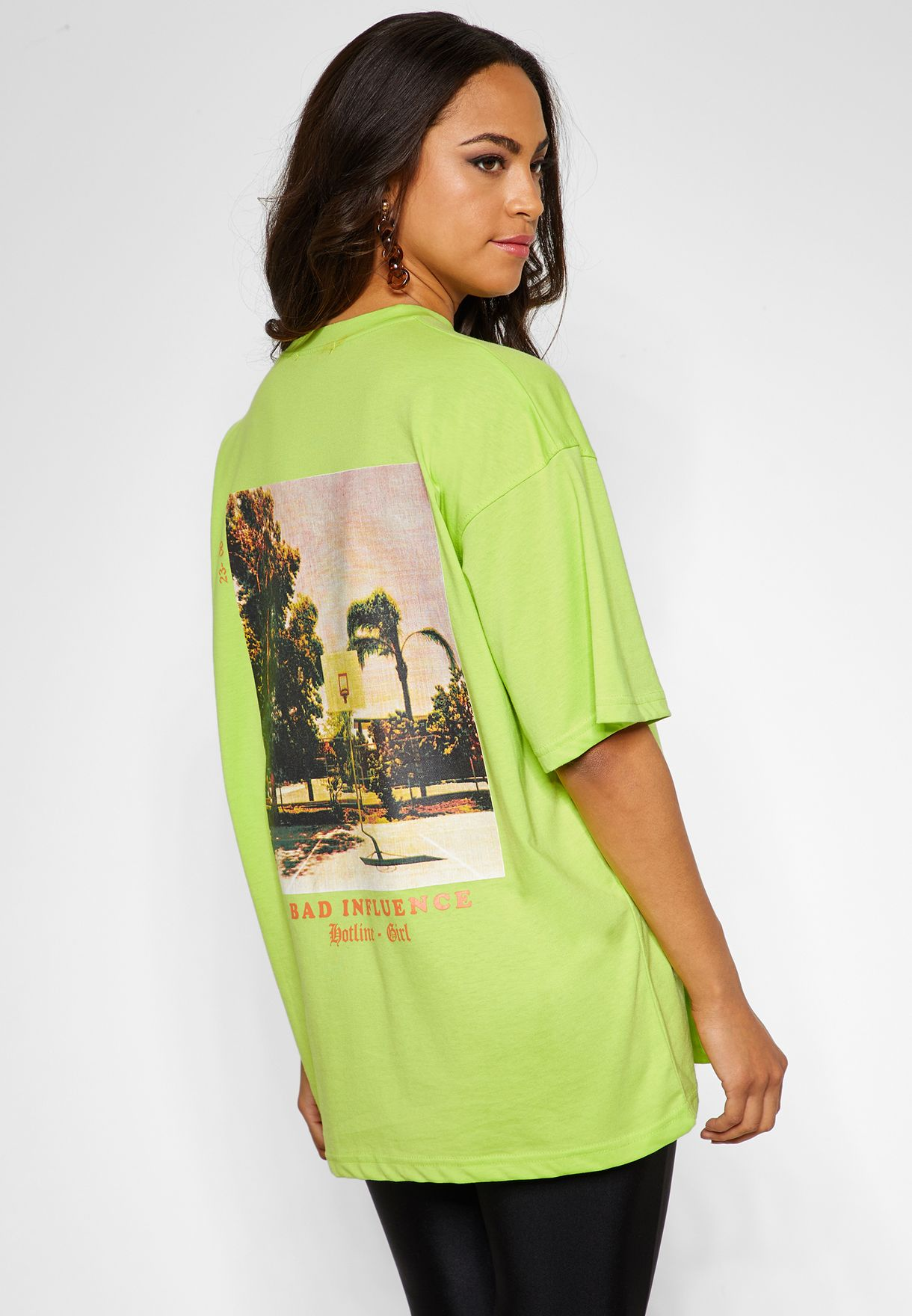 2ee443d2fb5a Shop Missguided green Oversized Printed T-Shirt WXTJF12965 for Women ...