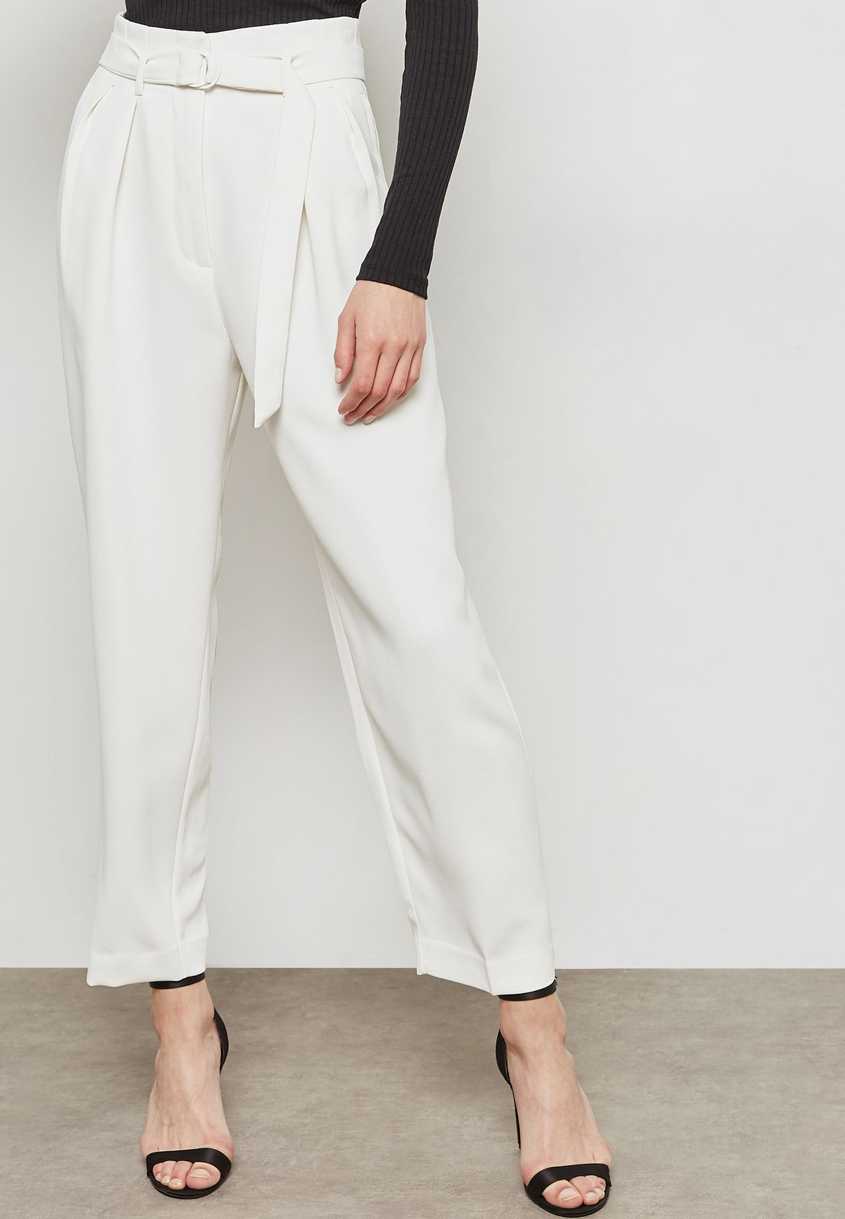 Belted Ankle Grazer Pants