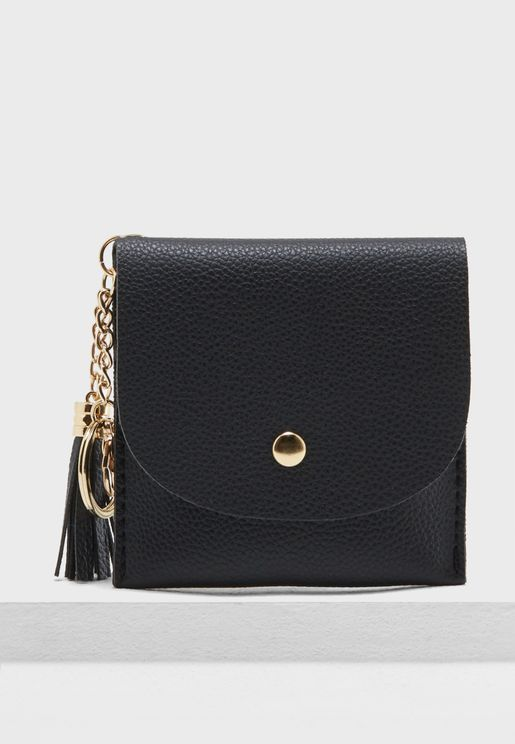 Tassel Detail Flap Over Purse
