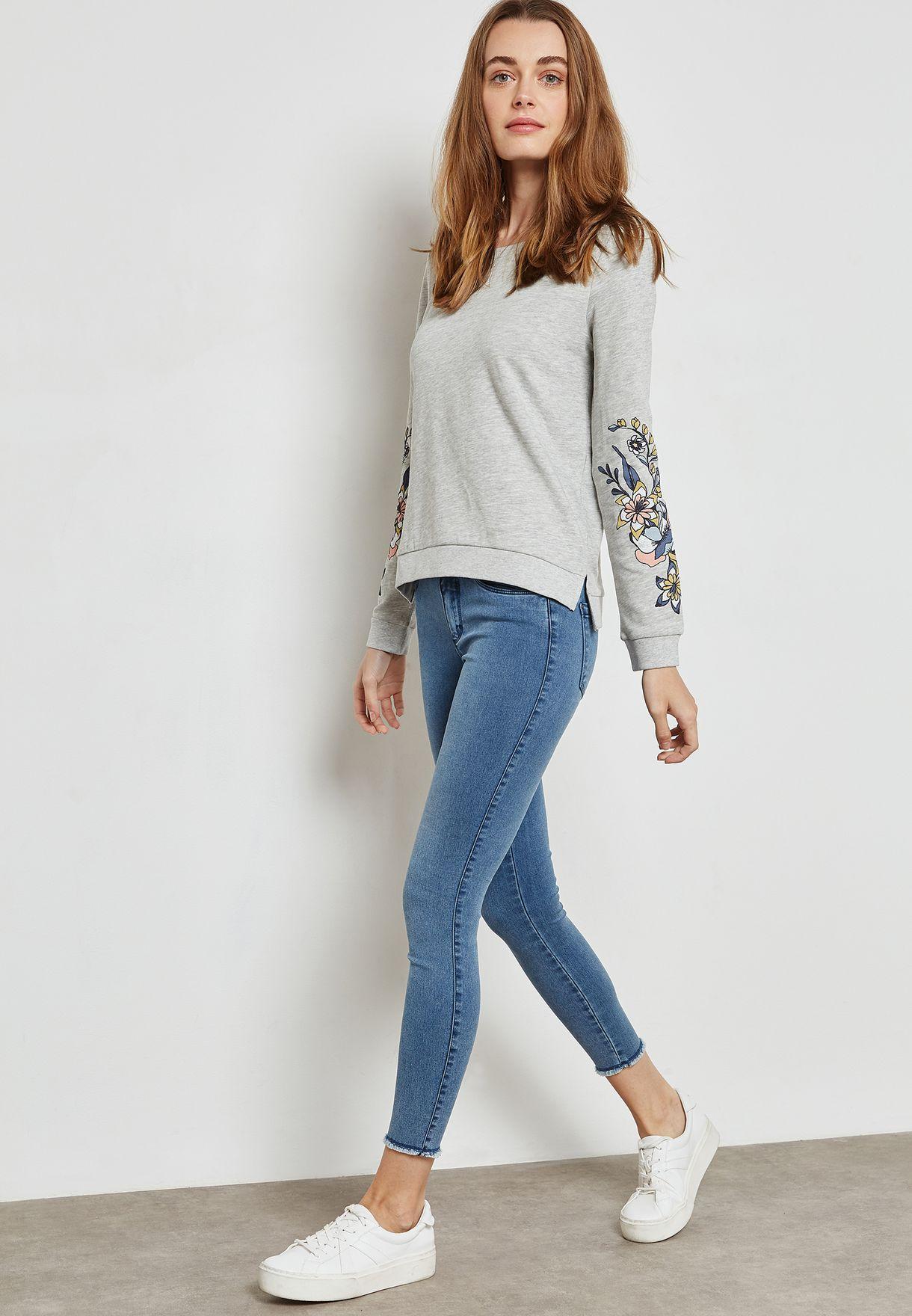 Printed Sleeve Sweatshirt