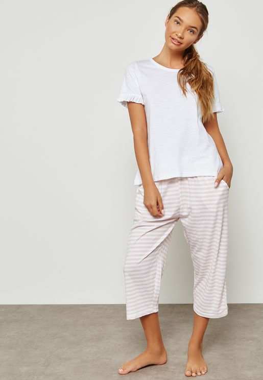 Ruffle Sleeve T-Shirt & Pyjama Set
