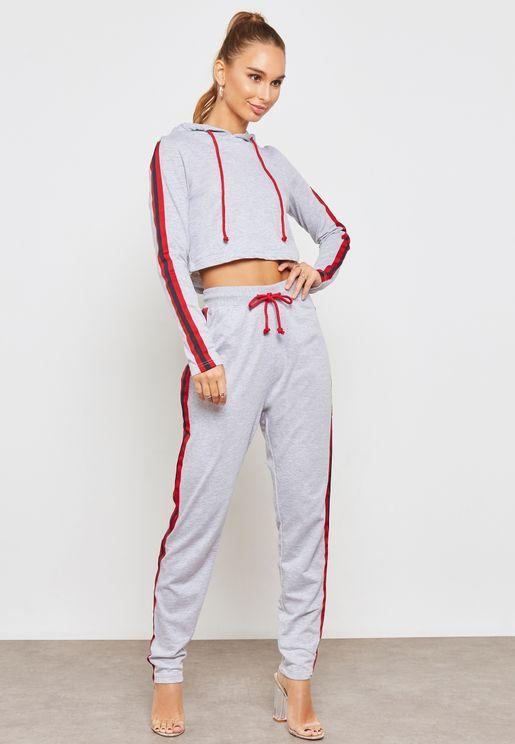 Side Striped Hooded Pyjama Set