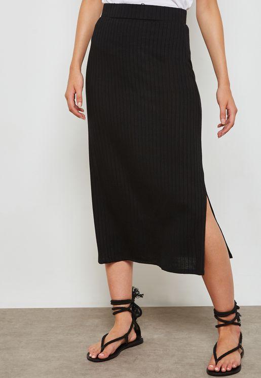 Slit Detail Ribbed Skirt
