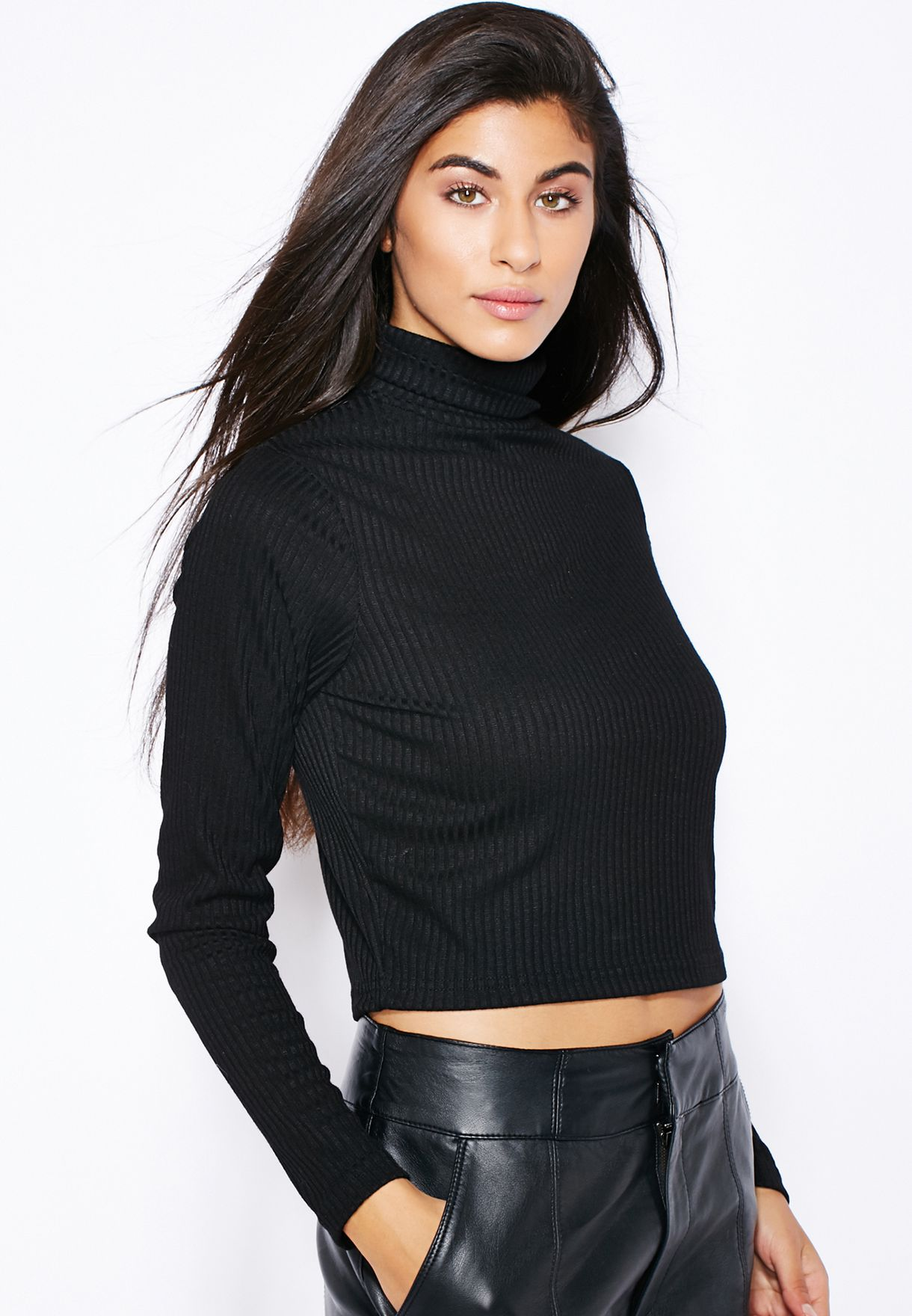 Shop Ginger black Ribbed Roll Neck Top for Women in Qatar - GI121AT23YIM 7cfafcecb