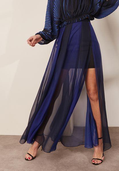 Front Split Sheer Detail Pleated Skirt