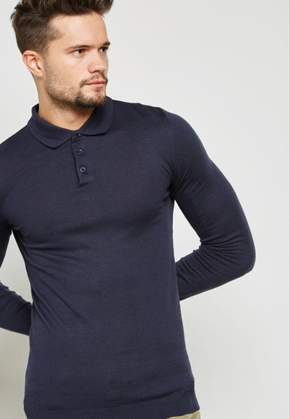 Knitted Muscle Fit Polo