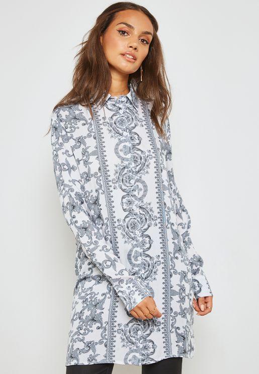 قميص طويل بطبعات