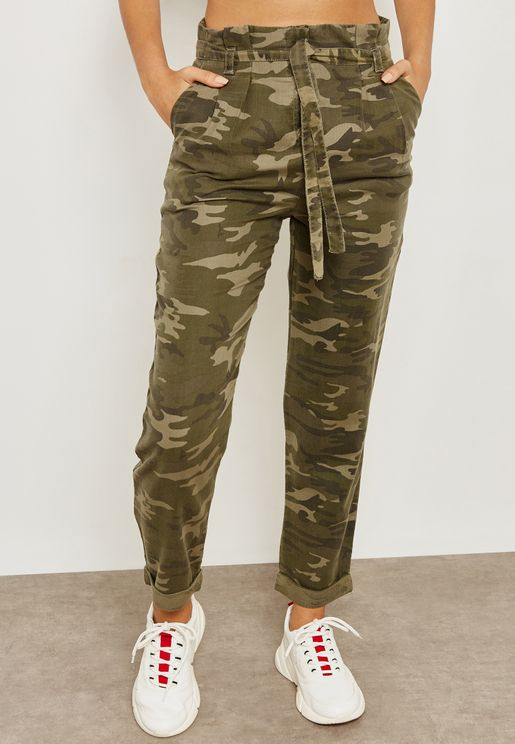 Camo Print Belted Pants