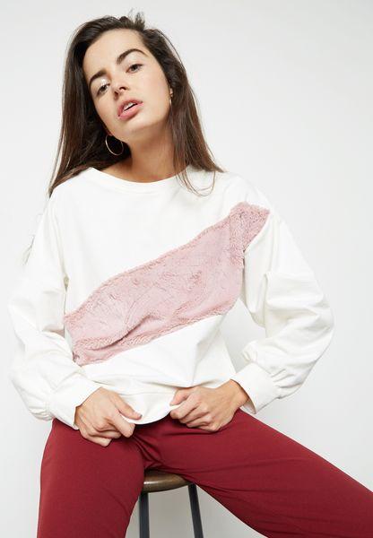 Faux Fur Paneled Sweater