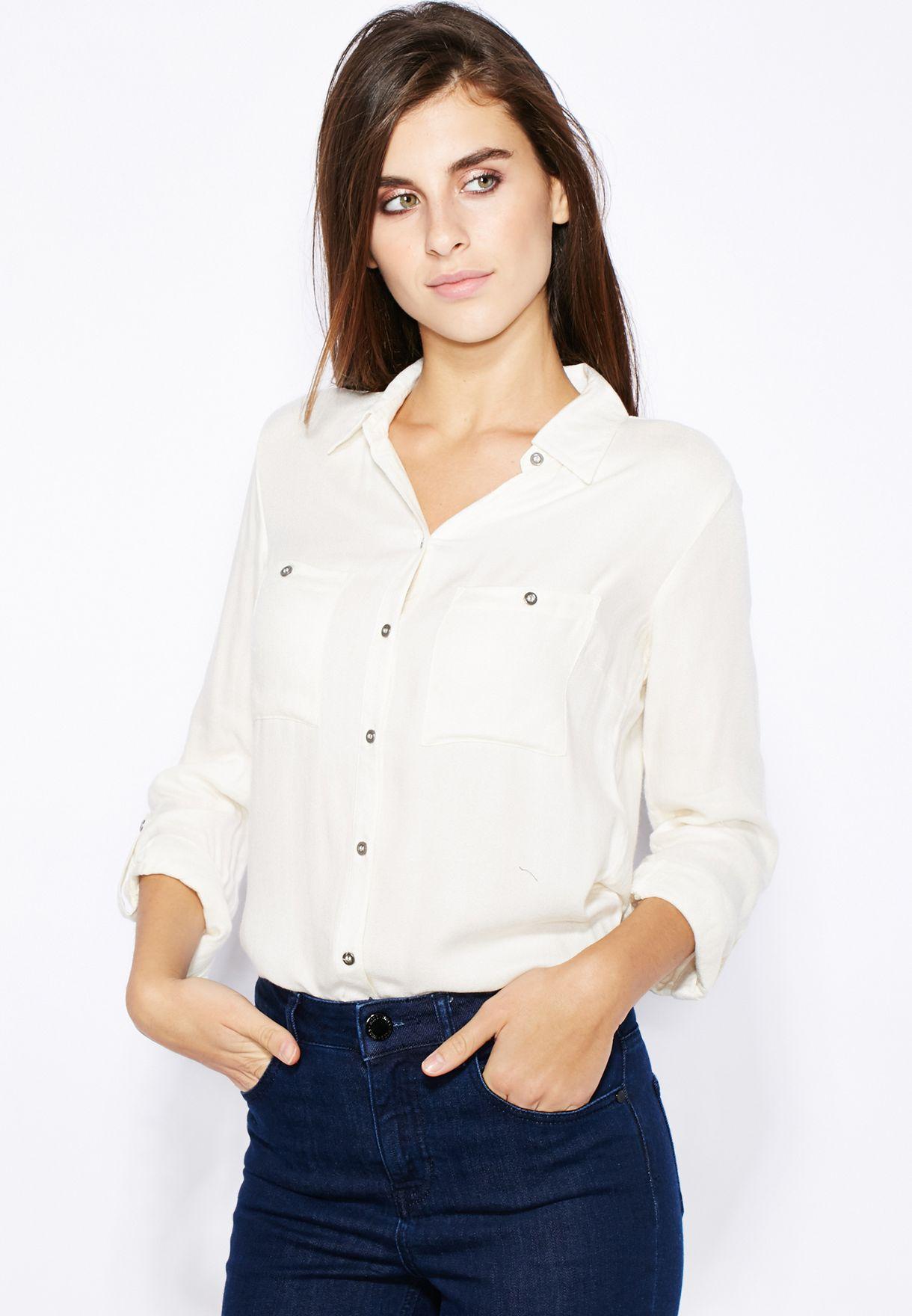 03917488 White Button Down Shirt Ladies - DREAMWORKS