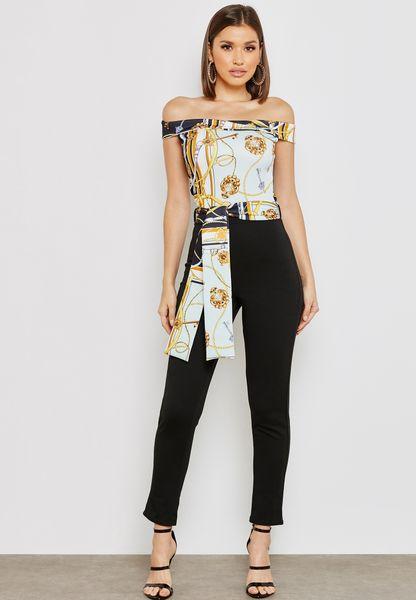 Printed Top Bardot Jumpsuit