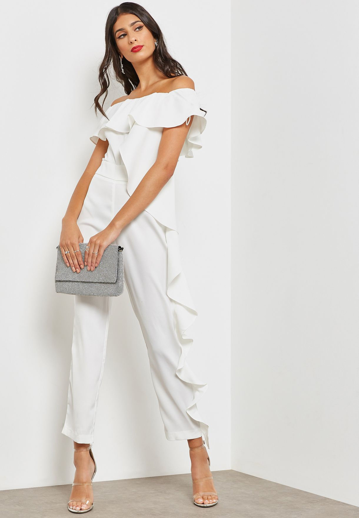 a7d618f24cff Shop Ginger white Ruffle Detail Bardot Jumpsuit YG17318 for Women in ...