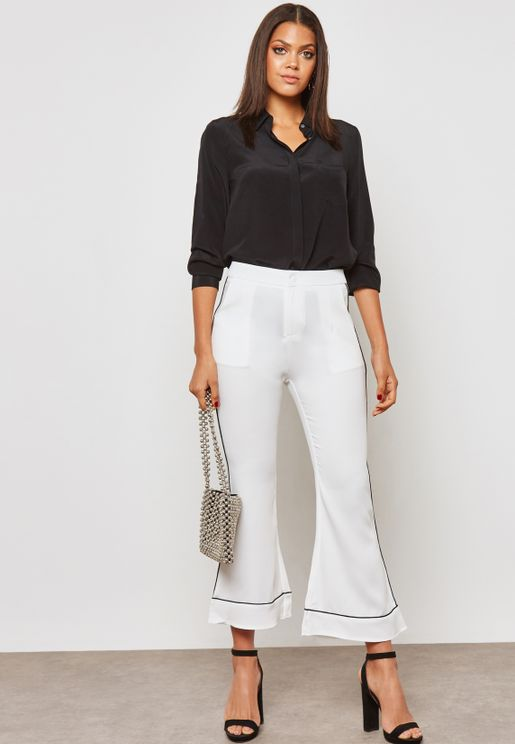 Contrast Piping Cropped Pants