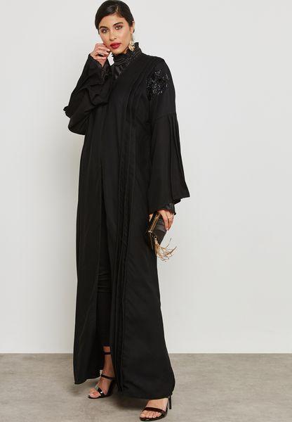 Top Pleat Handwork Detail Abaya