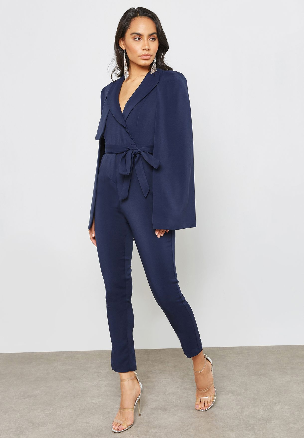c68d4de3be Shop Lavish Alice navy Tailored Cape Jumpsuit LA-961-NVY for Women ...
