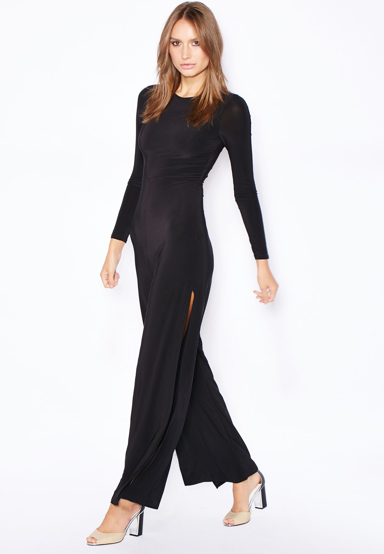 be14ae3f242 Shop Missguided black Slinky Slit Jumpsuit for Women in Qatar ...