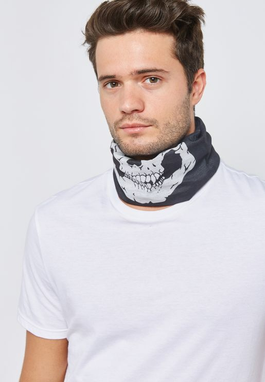 Skull Print Face Mask Scarf