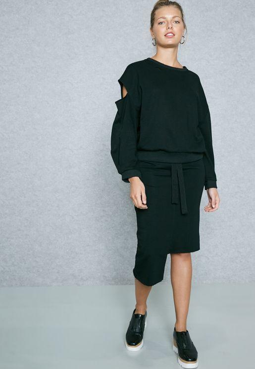 Cut Out Sleeve Detail Skirt Set