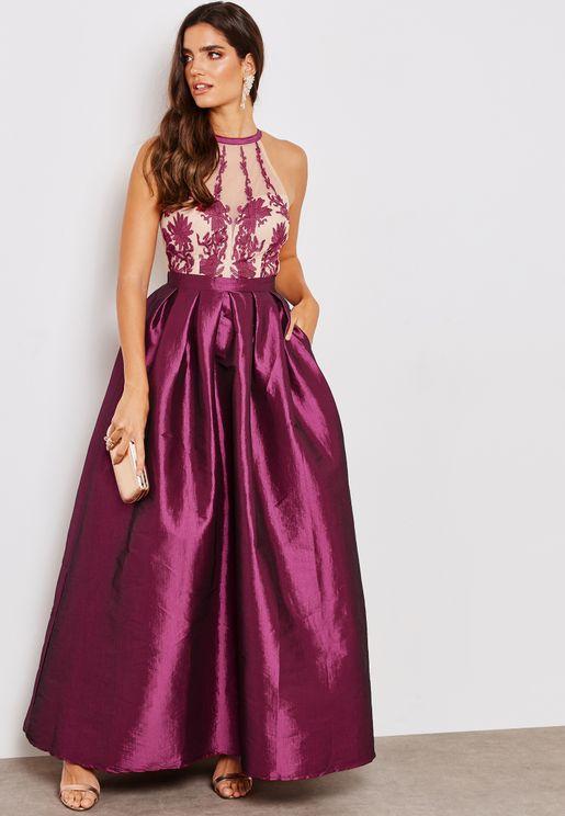 Embroidered Halter Neck Ball Dress