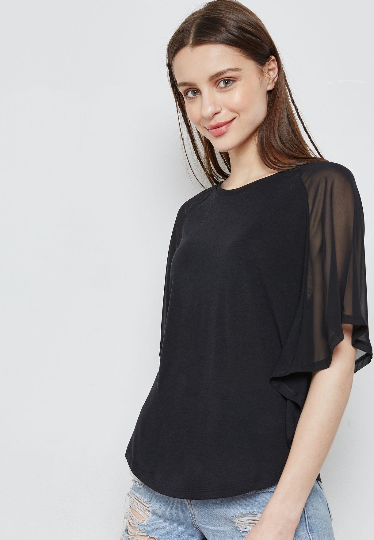 5ce34c2b969 Shop Jacqueline De Yong black Mesh Sleeve Top 15146222 for Women in ...