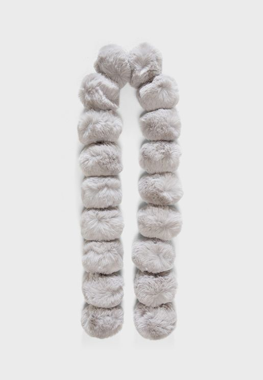 Tizzy Faux Fur Pom Pom Scarf