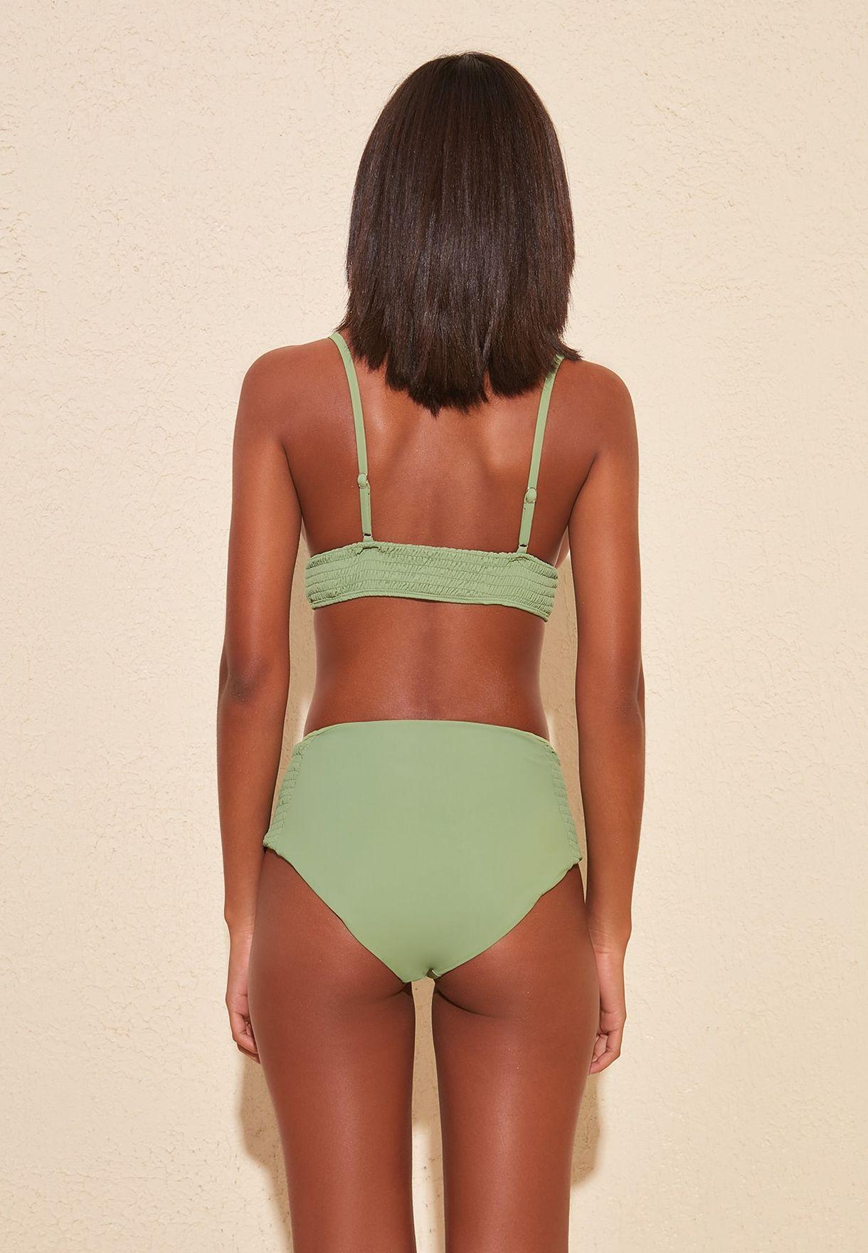 Shirred High Waist Bikini Bottom