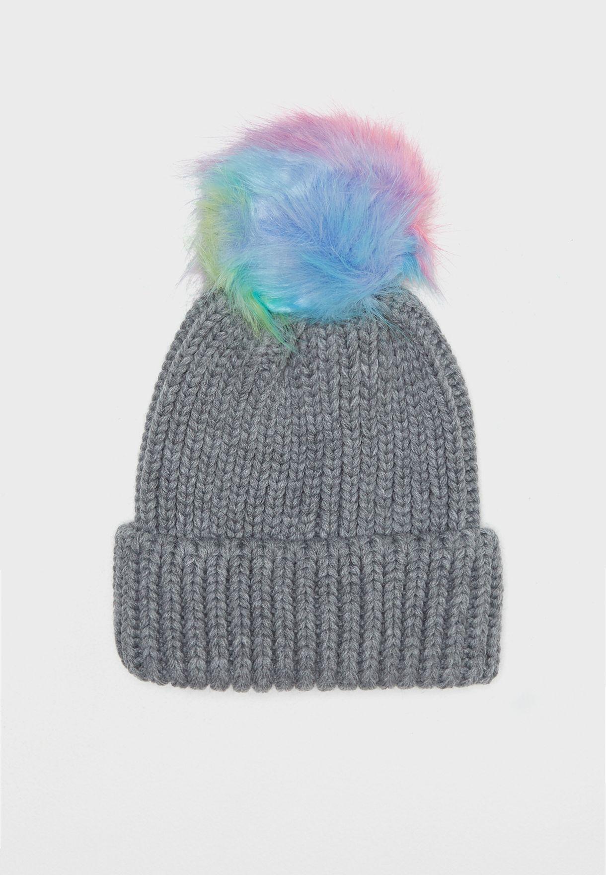Rainbow Pom Pom Beanie Hat bbe4c31b33d