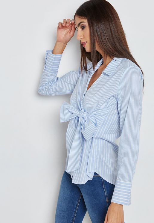 Multi- Striped Wrap Shirt