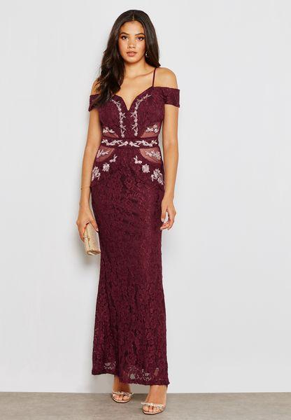 Embroidered Bardot Maxi Dress