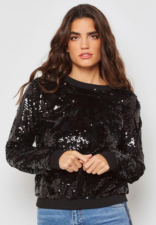 Sequin Velvet Sweater