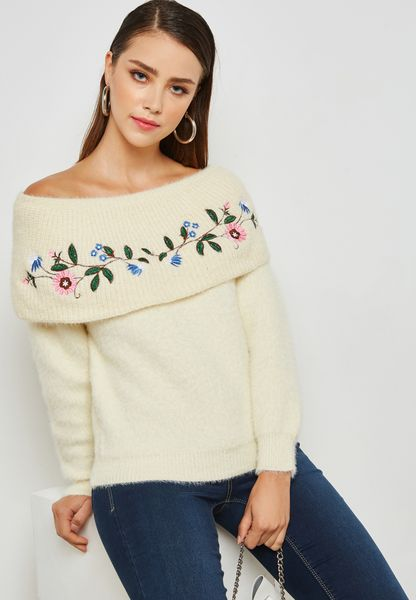 Embroidered Bardot Fluffy Sweater