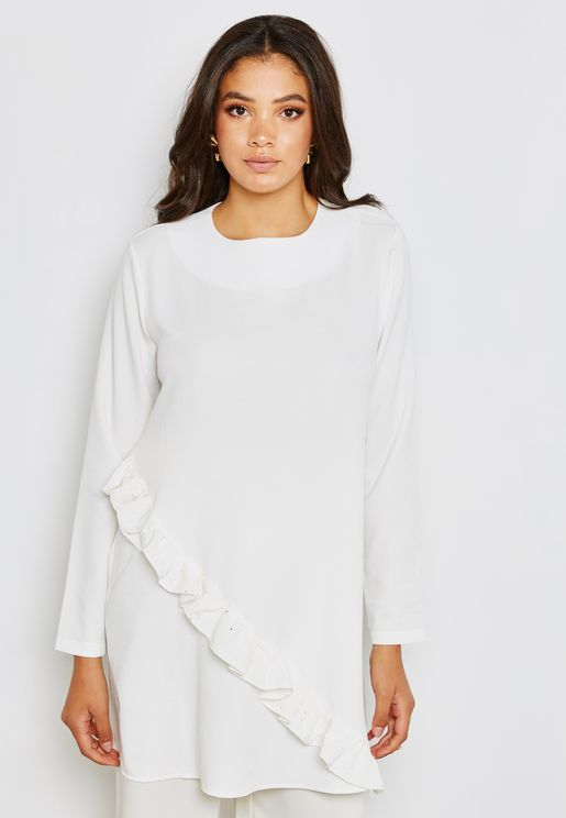 Assymetric Ruffle Detail Tunic