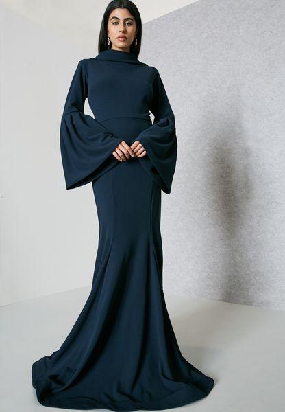 Flute Sleeve Back Collar Dress