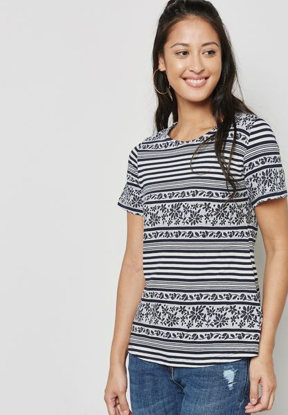 Leaf Printed Striped T-Shirt